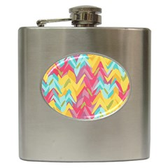 Paint Strokes Abstract Design Hip Flask (6 Oz) by LalyLauraFLM