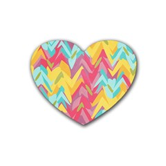 Paint Strokes Abstract Design Rubber Coaster (heart) by LalyLauraFLM