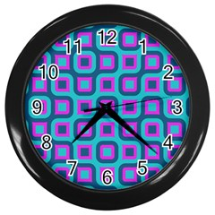 Blue Purple Squares Pattern Wall Clock (black) by LalyLauraFLM