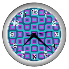 Blue Purple Squares Pattern Wall Clock (silver) by LalyLauraFLM