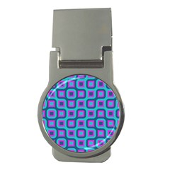 Blue purple squares pattern Money Clip (Round) by LalyLauraFLM