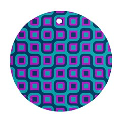 Blue Purple Squares Pattern Round Ornament (two Sides) by LalyLauraFLM