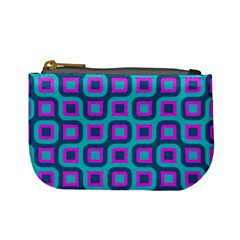 Blue Purple Squares Pattern Mini Coin Purse by LalyLauraFLM