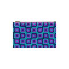 Blue Purple Squares Pattern Cosmetic Bag (small) by LalyLauraFLM