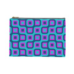 Blue Purple Squares Pattern Cosmetic Bag (large) by LalyLauraFLM