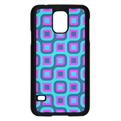 Blue Purple Squares Pattern Samsung Galaxy S5 Case (black) by LalyLauraFLM