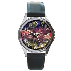 Abstract Of A Cold Sunset Round Leather Watch (silver Rim) by bloomingvinedesign