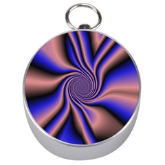 Purple Blue Swirl Silver Compass by LalyLauraFLM