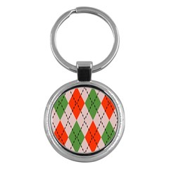 Argyle Pattern Abstract Design Key Chain (round) by LalyLauraFLM
