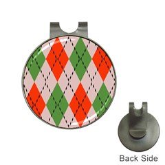 Argyle Pattern Abstract Design Golf Ball Marker Hat Clip by LalyLauraFLM