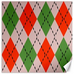 Argyle pattern abstract design Canvas 20  x 20  by LalyLauraFLM