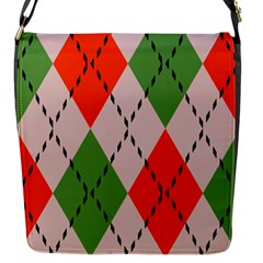 Argyle Pattern Abstract Design Flap Closure Messenger Bag (small) by LalyLauraFLM