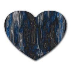 Blue black texture Heart Mousepad by LalyLauraFLM