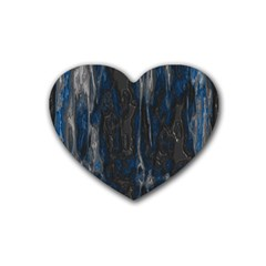 Blue Black Texture Heart Coaster (4 Pack) by LalyLauraFLM