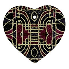 Tribal Style Ornate Grunge Pattern  Heart Ornament by dflcprints