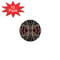 Tribal Style Ornate Grunge Pattern  1  Mini Button (10 Pack) by dflcprints
