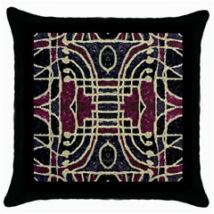 Tribal Style Ornate Grunge Pattern  Black Throw Pillow Case by dflcprints