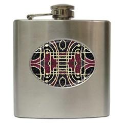 Tribal Style Ornate Grunge Pattern  Hip Flask by dflcprints