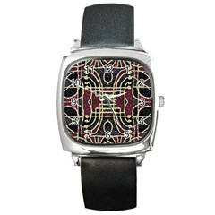 Tribal Style Ornate Grunge Pattern  Square Leather Watch by dflcprints