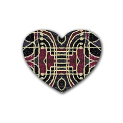 Tribal Style Ornate Grunge Pattern  Drink Coasters 4 Pack (heart)  by dflcprints