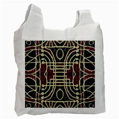 Tribal Style Ornate Grunge Pattern  White Reusable Bag (one Side) by dflcprints