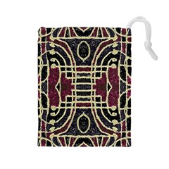 Tribal Style Ornate Grunge Pattern  Drawstring Pouch (large) by dflcprints