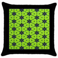 Blue Flowers Pattern Throw Pillow Case (black) by LalyLauraFLM