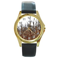Abstract Of A Cornfield Round Leather Watch (gold Rim)  by bloomingvinedesign