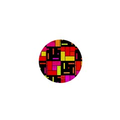 Squares And Rectangles 1  Mini Button by LalyLauraFLM