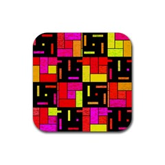 Squares And Rectangles Rubber Square Coaster (4 Pack) by LalyLauraFLM