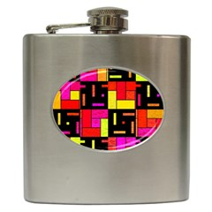 Squares And Rectangles Hip Flask (6 Oz) by LalyLauraFLM