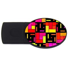 Squares And Rectangles Usb Flash Drive Oval (2 Gb) by LalyLauraFLM