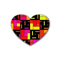Squares And Rectangles Rubber Coaster (heart) by LalyLauraFLM