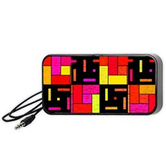 Squares And Rectangles Portable Speaker (black) by LalyLauraFLM