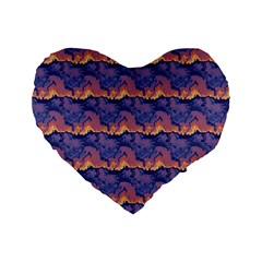 Pink Blue Waves Pattern 16  Premium Heart Shape Cushion  by LalyLauraFLM