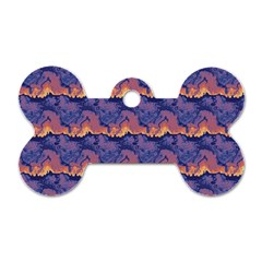 Pink Blue Waves Pattern Dog Tag Bone (two Sides) by LalyLauraFLM