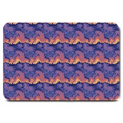 Pink Blue Waves Pattern Large Doormat by LalyLauraFLM