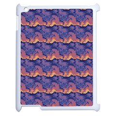 Pink blue waves pattern Apple iPad 2 Case (White) by LalyLauraFLM