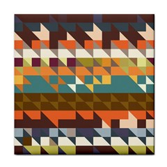 Shapes In Retro Colors Tile Coaster by LalyLauraFLM