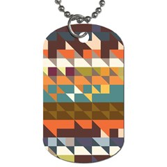 Shapes In Retro Colors Dog Tag (two Sides) by LalyLauraFLM
