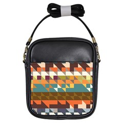 Shapes In Retro Colors Girls Sling Bag by LalyLauraFLM