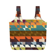 Shapes In Retro Colors Full Print Recycle Bag (m) by LalyLauraFLM