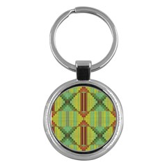 Tribal Shapes Key Chain (round) by LalyLauraFLM