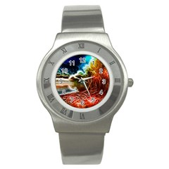 Abstract On The Wisconsin River Stainless Steel Watch (slim) by bloomingvinedesign