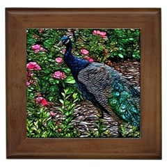 Peacock With Roses Framed Ceramic Tile by bloomingvinedesign