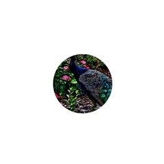 Peacock With Roses 1  Mini Button by bloomingvinedesign