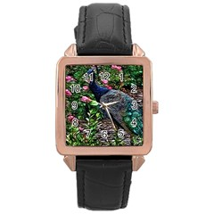 Peacock With Roses Rose Gold Leather Watch  by bloomingvinedesign
