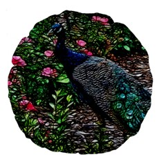 Peacock With Roses 18  Premium Flano Round Cushion  by bloomingvinedesign