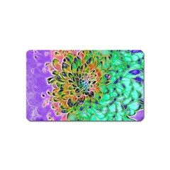 Abstract Peacock Chrysanthemum Magnet (name Card) by bloomingvinedesign