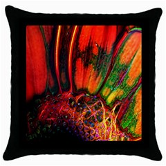 Abstract Of An Orange Gerbera Daisy Black Throw Pillow Case by bloomingvinedesign